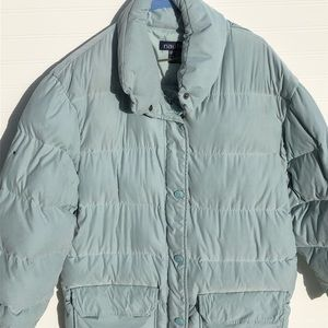 Nautical Down 3/4 Length Puffer Jacket Sage Green